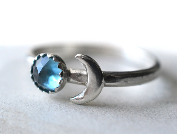 Rose Cut London Blue Topaz & Silver Moon Ring