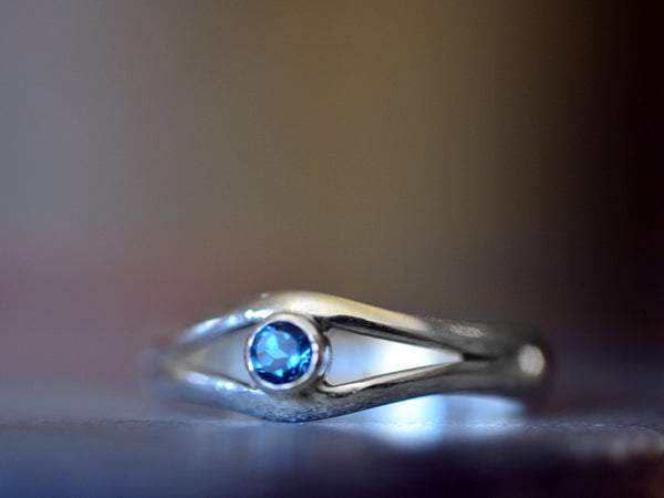 Tiny London Blue Topaz Eye Ring in Sterling Silver