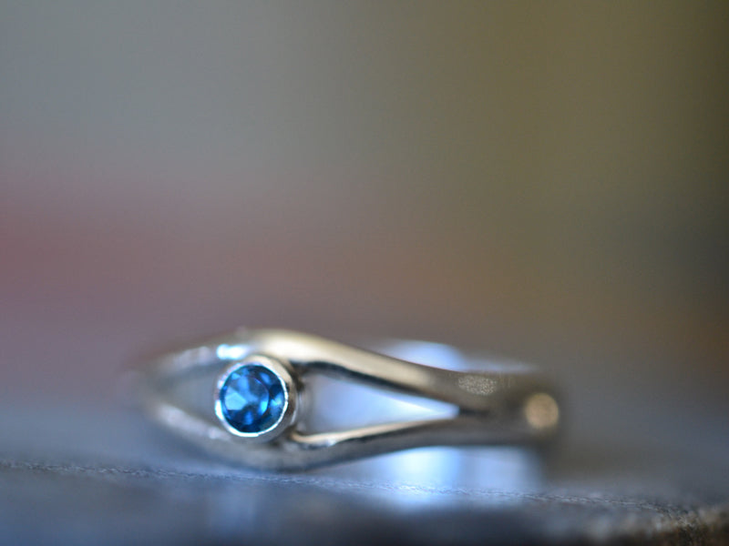 London Blue Topaz Gemstone Statement Eye Ring