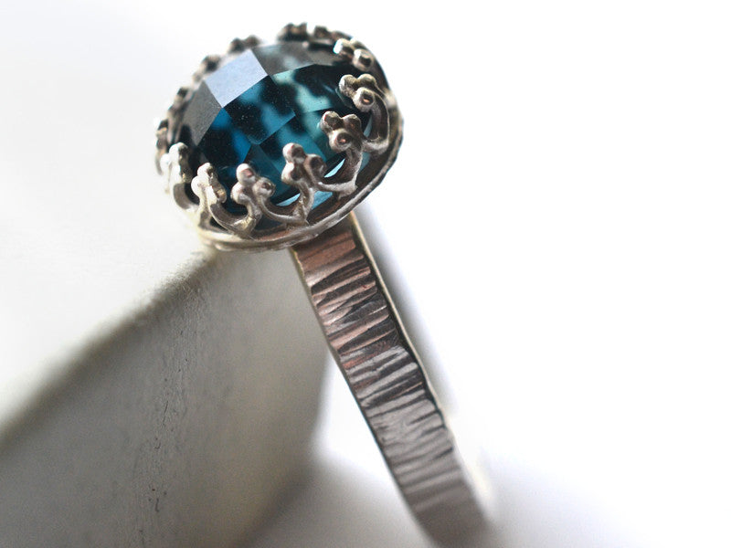 Rustic Sterling Silver & London Blue Topaz Engagement Ring
