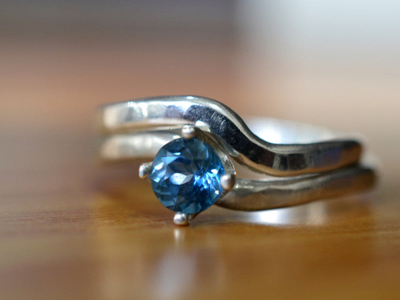 5mm London Blue Topaz Engagement Ring & Wedding Band