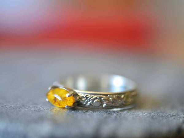 Marquise Cut Natural Baltic Amber Statement Ring