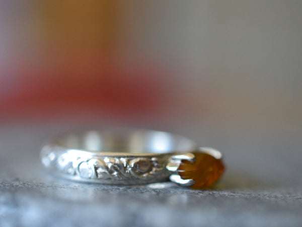 Engravable Baltic Amber Statement Ring With Floral Silver