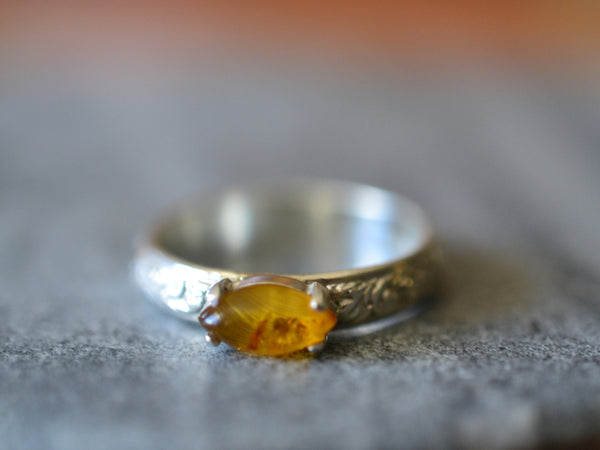 Personalised Floral Silver & Marquise Cut Baltic Amber Ring