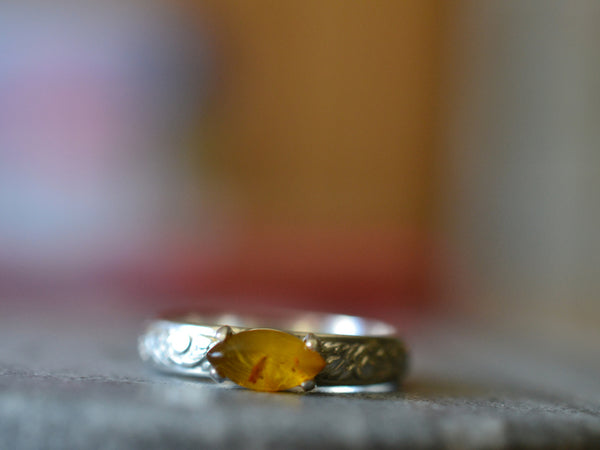 Marquise Cut Baltic Amber Ring in Floral Sterling Silver
