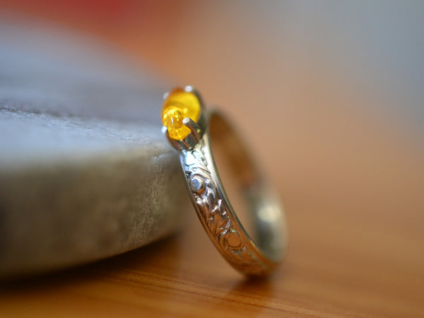 Handmade Women's Renaissance Style Baltic Amber Ring in Silver