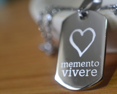 Memento Vivere Inspirational Dog Tag Necklace in Stainless Steel