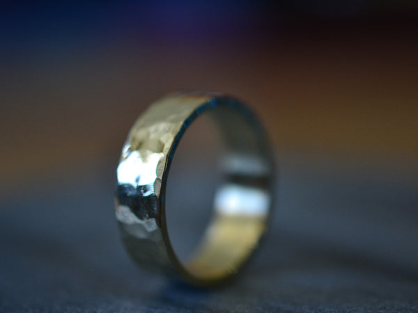 Hammered 14K Yellow Gold Wedding Ring For Men