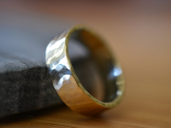 Rugged Hammered 6mm Wide Male Marriage Band in 14K Gold
