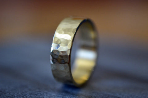 Men's 6mm Wide Hammered 14K Gold Wedding Band