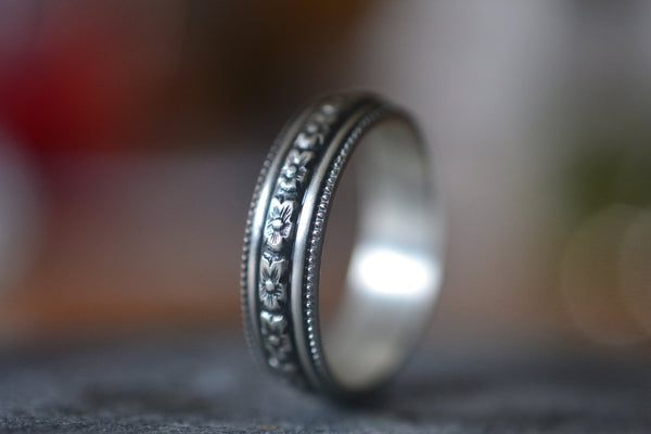 Personalised Wedding Ring With Flower Pattern