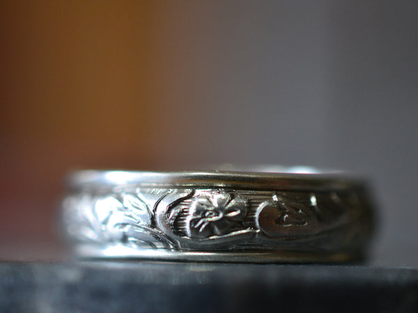 Men's Renaissance Style Sterling Silver Wedding Band