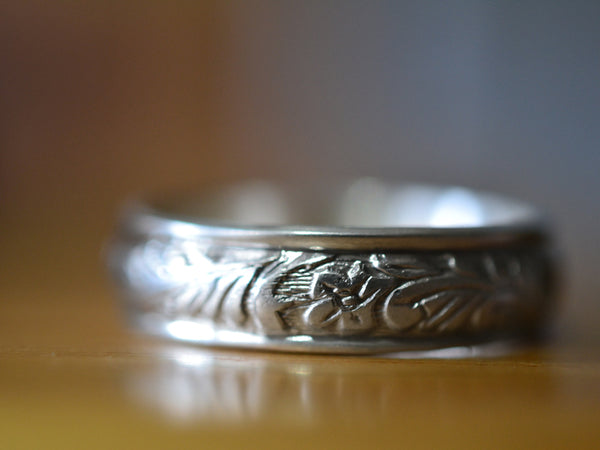 Floral Sterling Silver Wedding Band for Men
