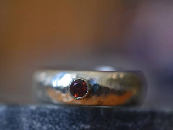 Men's Sterling Silver Wedding Band with 3mm Garnet