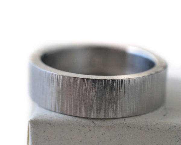 Men's Hammered Steel Tree Bark Wedding Band
