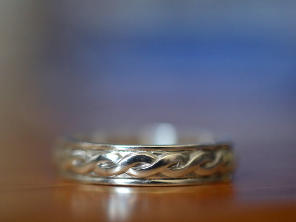 Handmade Men's Sterling Silver Celtic Wedding Band
