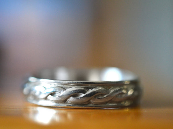 Handmade Engraved Men's Celtic Wedding Band in Sterling Silver