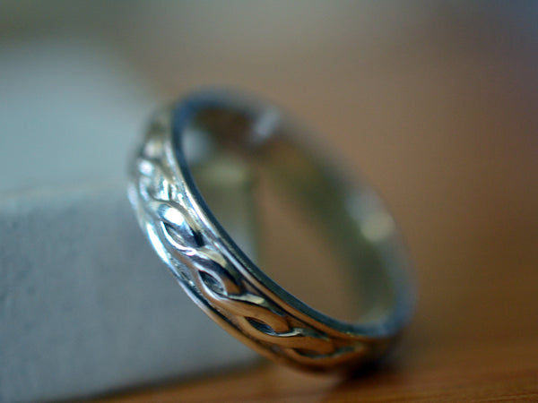 Customised Sterling Silver Celtic Wedding Band for Men