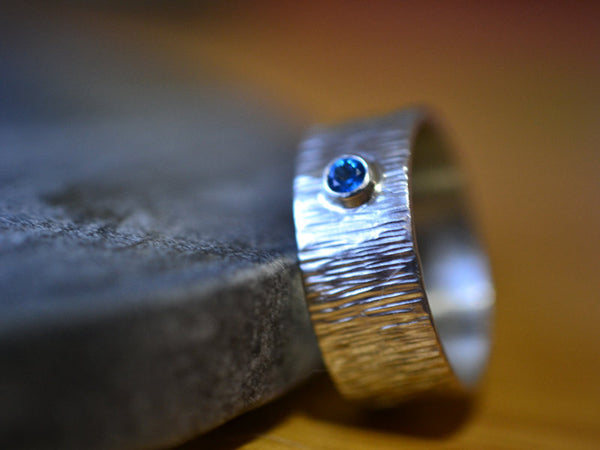 Hammered Silver Wedding Band with Kashmir Blue Topaz