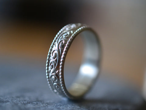 Men's Sterling Silver Milgrain & Swirl Wedding Band