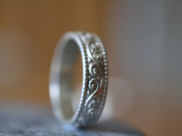 Handforged Sterling Silver Swirl & Milgrain Wedding Ring