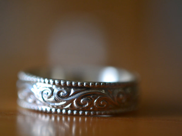 Recycled Sterling Silver Swirl Pattern Marriage Ring For Men