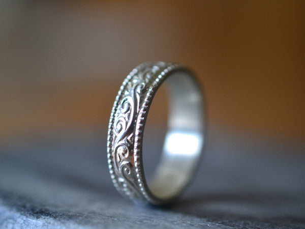 Custom Engraved Wedding Band in Patterned Sterling Silver