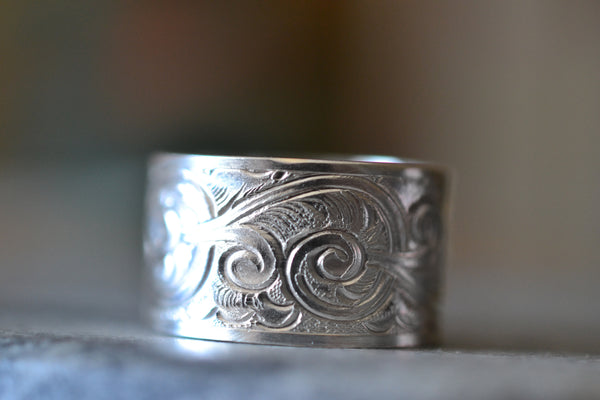 Handforged 12mm Wide Patterned Sterling Silver Wedding Ring