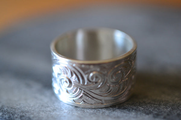 Custom Engraved 12mm Wide Scrollwork Wedding Band in Silver