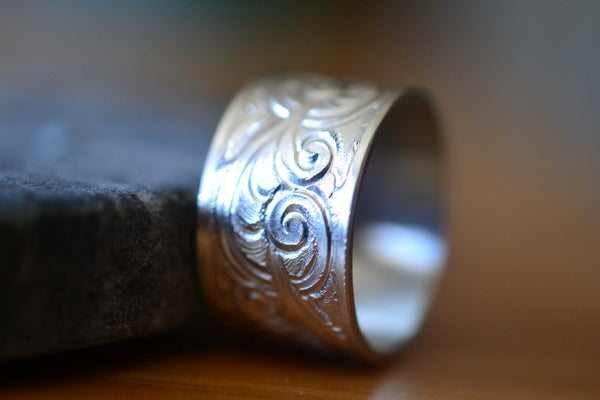 Wide Baroque Inspired Patterned Sterling Silver Wedding Ring