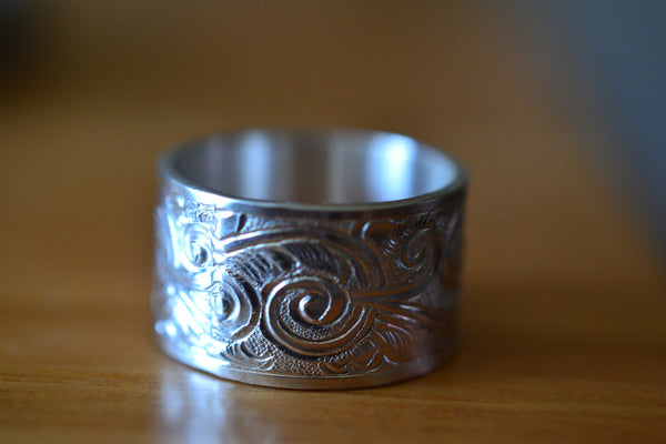 Handcrafted Wide Carved Sterling Silver Commitment Ring