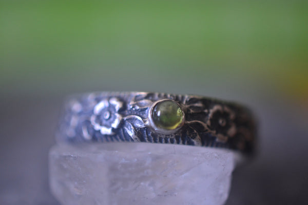 Gothic Oxidised Silver Rose & Peridot Male Marriage Band