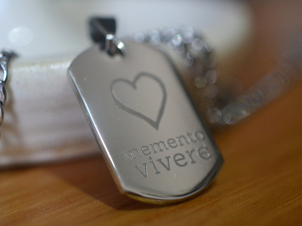 Stainless Steel Memento Vivere Mini Dog Tag Necklace