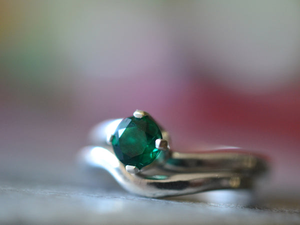 Simple Sterling Silver & Emerald Wedding Band Set