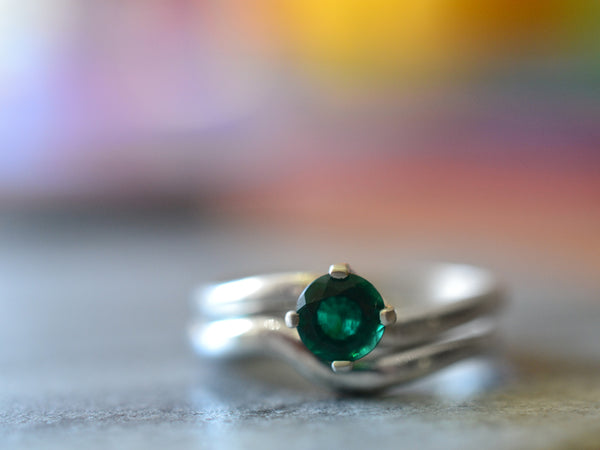 Emerald Engagement Ring & Sterling Silver Arch Wedding Band