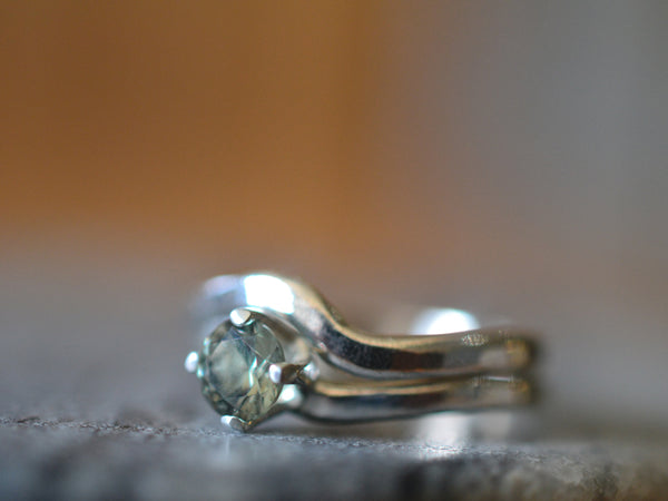 Simple Sterling Silver & Green Spinel Wedding Ring Set