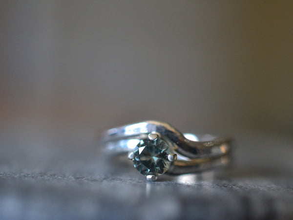 Minimalist Sterling Silver & Green Spinel Engagement Ring Set
