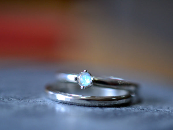 Minimalist Rainbow Moonstone Bridal Ring Set in Sterling Silver
