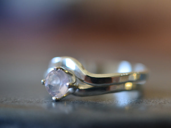 Women's Rose Quartz Wedding Ring Set in Sterling Silver