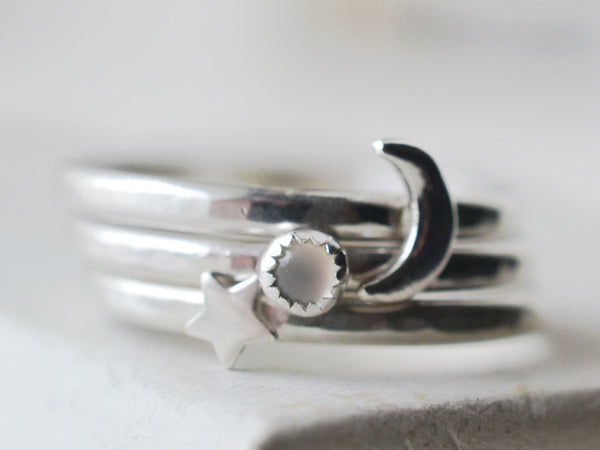 Moonstone Ring, Sterling Silver Star Ring, Moon Ring Set