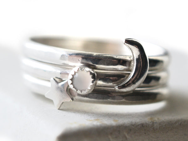 White Moonstone, Silver Moon & Star Stacking Ring Set