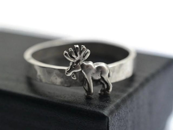 Engravable Sterling Silver Moose Ring