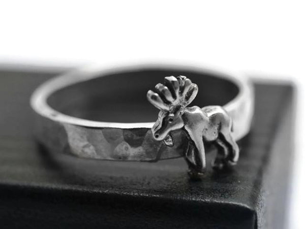 Handmade Sterling Silver Moose Ring