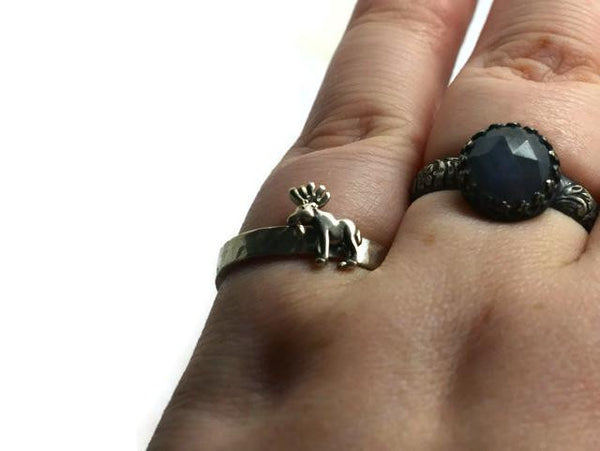 Handmade Engravable Silver Moose Ring