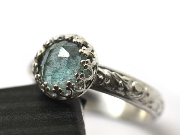 Renaissance Style Floral Silver Moss Aquamarine Ring