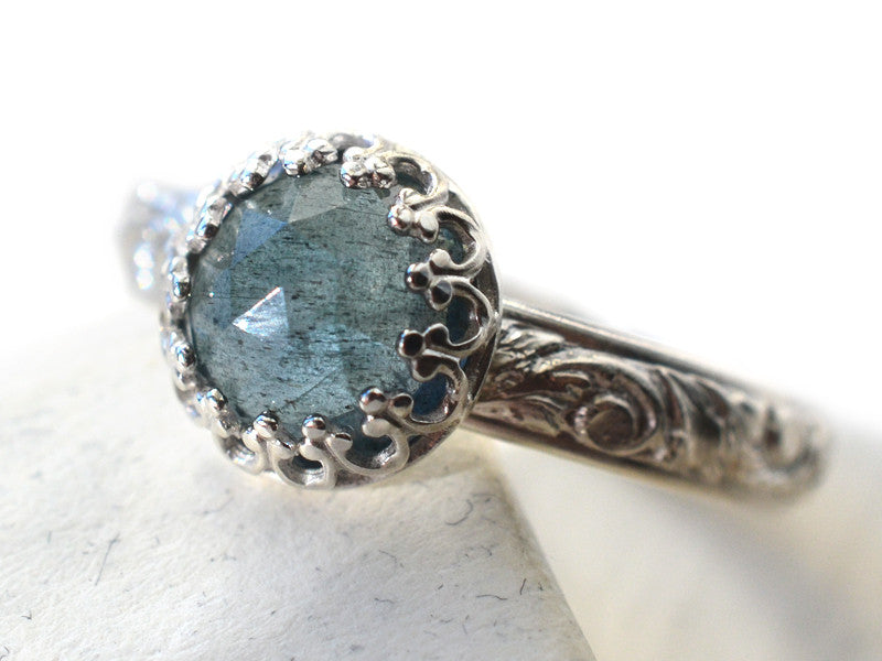 Floral Silver Moss Aquamarine Engagement Ring