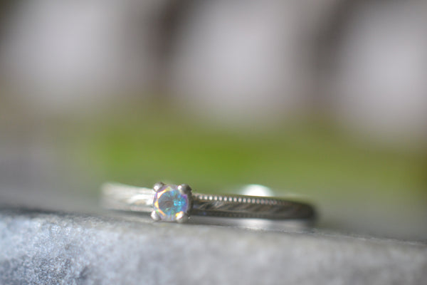 Personalised Dainty Mystic Topaz Engagement Ring in Sterling
