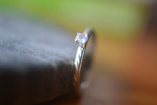 Tiny 3mm Mercury Mist Topaz Ring in Patterned Sterling Silver