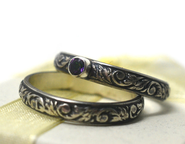 Oxidized Floral Silver Mystic Topaz Wedding Set