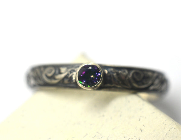 Women's Gothic Silver Tube Set Mystic Topaz Ring